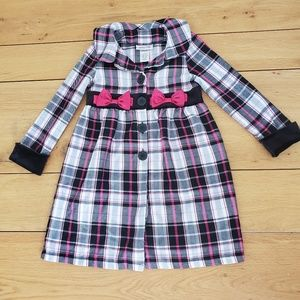 Youngland Girl's Black and White Plaid Coat